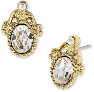clear 1928 Jewelry 1928 Vintage Inspirations Brass Oval Stud Earrings