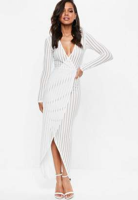 Missguided White Ribbed Wrap Over Mesh Maxi Dress
