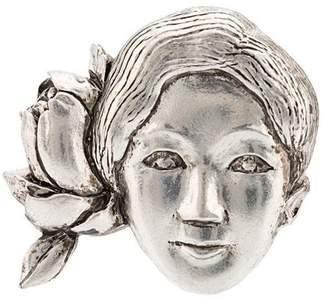 Yohji Yamamoto flower and woman brooch