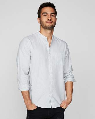 Express Slim Striped Band Collar Shirt