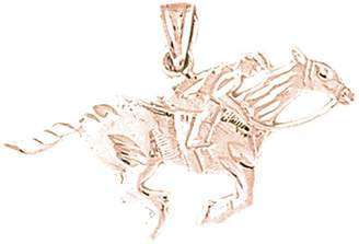 Jockey NecklaceObsession Gold-plated 925 Silver 19mm Horse And Pendant Necklace