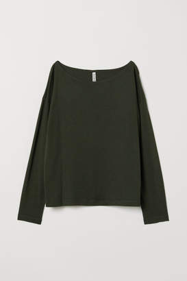 H&M Boat-necked Jersey Top - Green