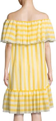 Tadashi Shoji Striped Flounce Ruffle Off-the-Shoulder Dress