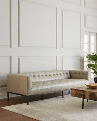 Dusty Stone Tufted Leather Sofa