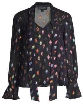 Saloni Lauren Floral-Print Silk-Blend Top