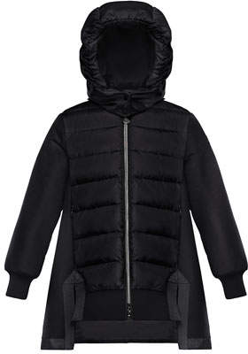Moncler Mixed Material A-Line Long Coat, Size 8-14