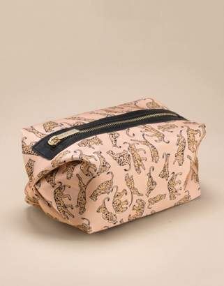 Agent Provocateur Catalyna Make Up Bag In Pink Silk With A Vintage Print Of Leopards