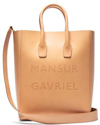 Mansur Gavriel Logo Ns Leather Tote - Womens - Brown Multi