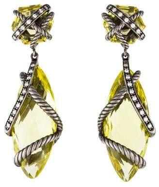 David Yurman Lemon Citrine & Diamond Cable Wrap Double Drop Earrings