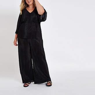 River Island Womens Plus Black plisse trousers