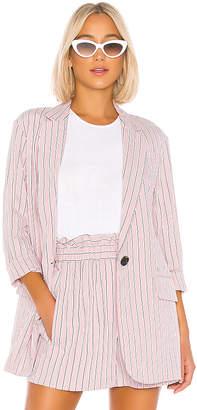 Tibi Stripe Viscose Twill Oversized Blazer