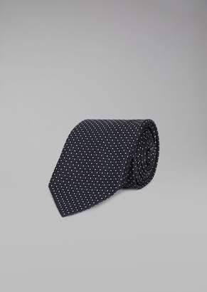 Giorgio Armani Pure Silk Tie With Micro Pattern