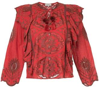 Sea embroidered blouse with frill trim