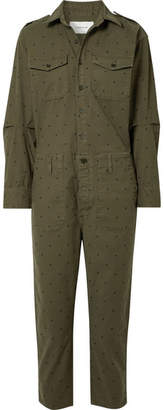 Current/Elliott The Crew Coverall Polka-dot Cotton-blend Jumpsuit - Army green