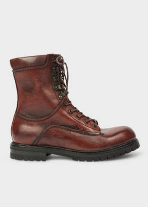 Paul Smith Men's Burgundy Calf Leather 'Snow' Boots