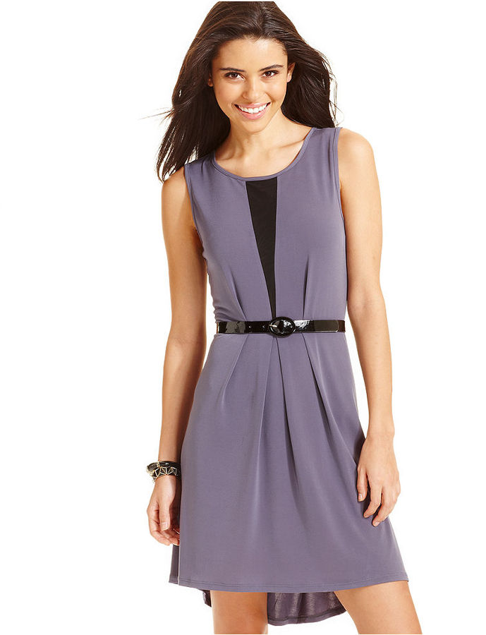 Tempted Juniors' Belted High-Low Dress