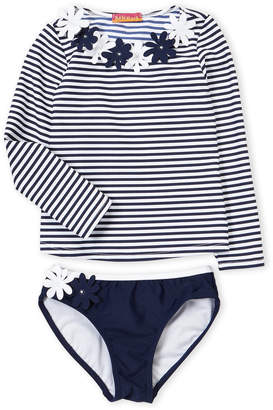 Kate Mack For Biscotti (Girls 4-6x) Striped Rashguard Swim Set