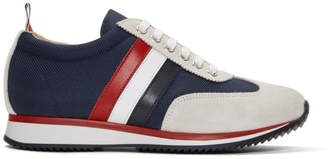 Thom Browne Navy Suede and Tech Tricolor Stripe Running Sneakers