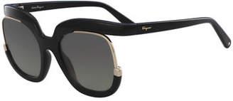 Salvatore Ferragamo Square Cutout Sunglasses