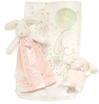 Bunnies by the Bay Growing Like a Weed Milestone Stickers, Swaddle Blanket, Lovie & Stuffed Animal Set