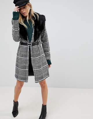 Parisian Belted Longline Check Coat With Faux Fur Collar