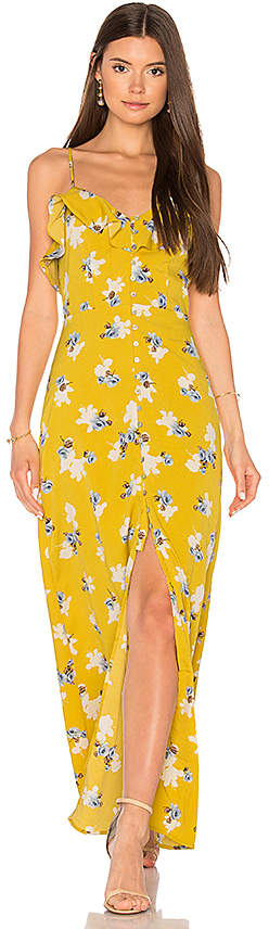 J.O.A. Flower Print Button Down Maxi in Yellow 3