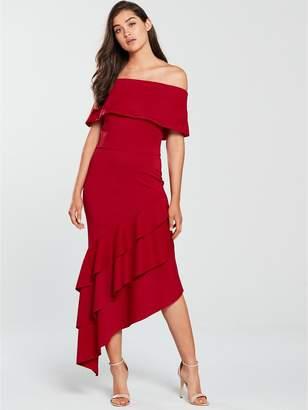Bardot True Violet Floral Scuba Frill Dress - Red
