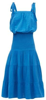 Rhode Resort Micah Floral Print Cotton Dress - Womens - Blue