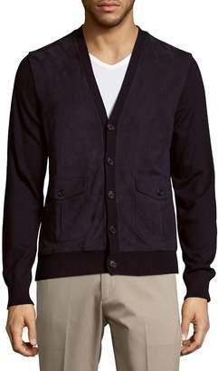 Ralph Lauren Purple Label Men's Suede & Cashmere Button-Down Lamb Fur Cardigan