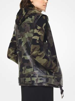 Michael Kors Camo Plonge Leather Moto Vest