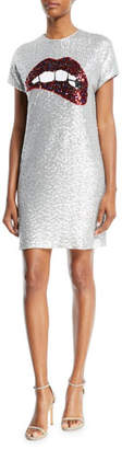 Aidan Mattox Sequin Short-Sleeve Biting Lips Cocktail Dress