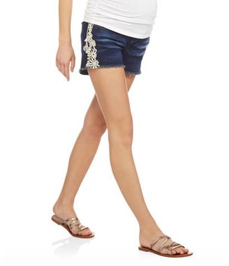 Planet Motherhood Maternity Over Belly Seamless Banded, Fringe Bottom, Denim Shorts with Side Crochet Lace Applique