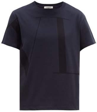 Valentino Logo Print Cotton Jersey T Shirt - Mens - Navy