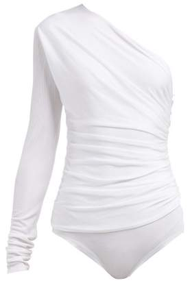 Alexandre Vauthier One Shoulder Ribbed Bodysuit - Womens - White
