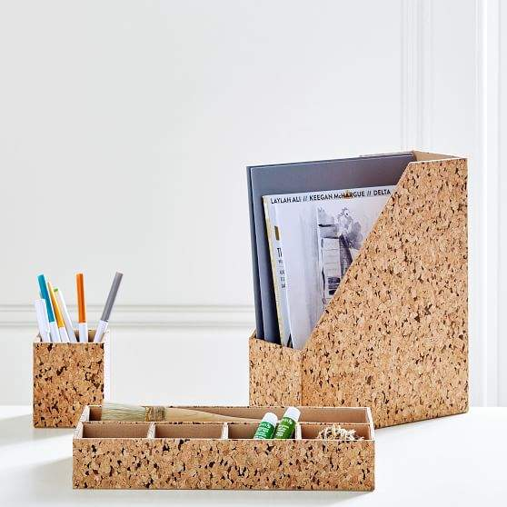 Cork Desk Accessories, Set Of 3
