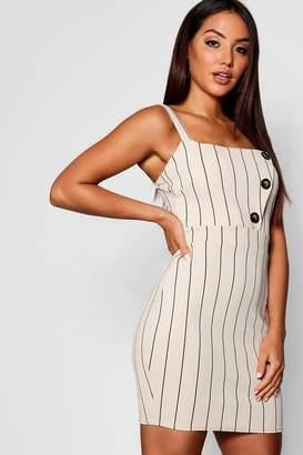 boohoo Mock Horn Button Tonal Stripe Midi Dress