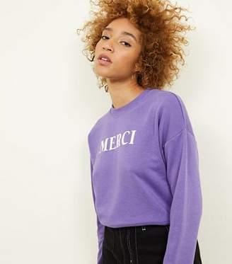New Look Purple Merci Slogan Cropped Sweatshirt