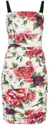 Dolce & Gabbana sleeveless peony print cotton gathered dress