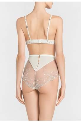 La Perla Modernista Off-White Triangle V-Bra With Embroidered Tulle