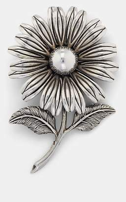 Saint Laurent Men's Runway Flower Pin - Silver