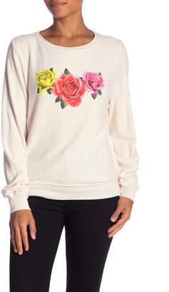 Wildfox Couture Triple Rose Knit Sweatshirt