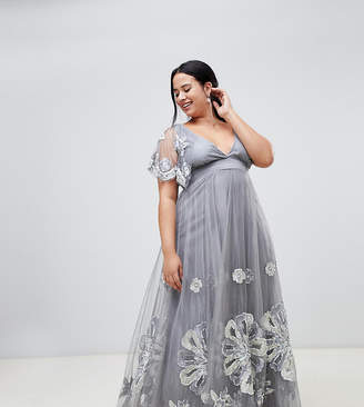 A Star Is Born Plus embellished maxi dress with cape detail in silver