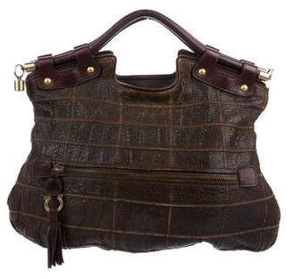 Salvatore Ferragamo Distressed Leather Satchel