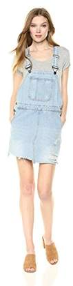 EVIDNT Women's Denim Skirtall Distressed Jean Skirt Overalls