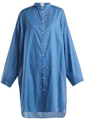 Raey Deck Chair Split Side Cotton Shirt - Womens - Blue Stripe