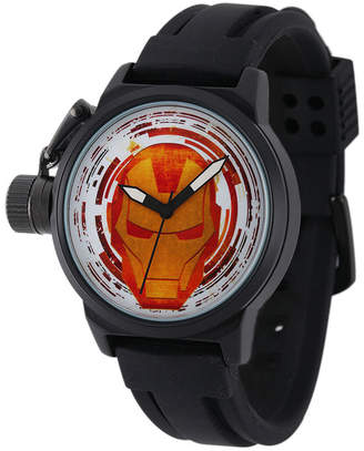 Marvel Iron Man Mens Black Silicone Strap Crown Protector Watch