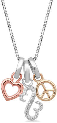 Zales Open Hearts by Jane Seymoura Diamond Accent Love and Peace Charms Pendant in Sterling Silver and 10K Two-Tone Gold