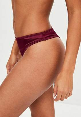 Missguided Red Satin Thong