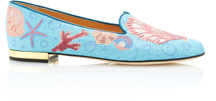 Charlotte Olympia Charlotte Olympia M'O Exclusive: Oceanic Embroidered Canvas Slippers