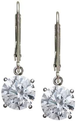 Diamonique 100-Facet Round Lever Back Earrings,Platinum Clad
